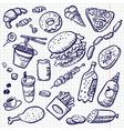 Fast food doodle set vector