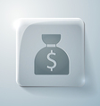 Bag of money glass square icon vector