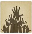 Hands up symbol old background vector