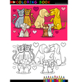 Animals in love cartoon for coloring book vector