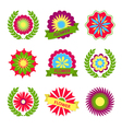 Flowers ribbons and labels vector