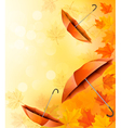 Autumn background with autumn leaves and orange vector