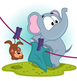 Elephant mistakenly hung on clothespins mouse by vector