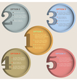 Round numbered banners in retro colors vector