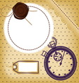 Scrapbook card with price tag and stopwatch vector