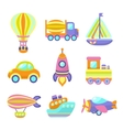 Transport toys icons set vector