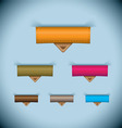 Paper tab icon leather tag set vector