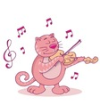 Pink cat with violin vector