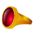 Gold ring with red gem vector