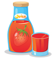 A bottle of strawberry juice vector
