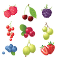 9 sweet berries icons set vector