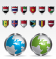 Globe map and flags metal shield vector