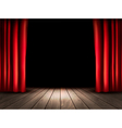 Theater stage with wooden floor and red curtains vector