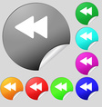 Rewind icon sign set of eight multi-colored round vector