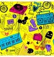 Seamless yellow music background vector