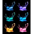 Set of splashing water drops black background vector