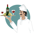 Head-cook with a tray with red wine grape and gla vector