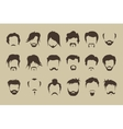 Set hair mustache beard vector