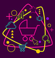 Baby carriage on abstract colorful geometric dark vector