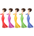 A lady in different gowns vector