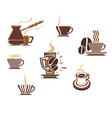 Coffee and tea symbols and icons vector