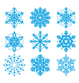 Snowflakes winter blue icons set vector