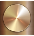 Precious metal round golden plate with line vector