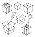 Set of black and white sketches of gifts vector
