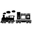 Train with home appliances icon vector