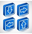 Set of four lighting blue buttons with arrows vector