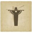 Opera singer symbol old background vector