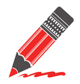 Silhouette of red pencil vector