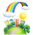 Rainbow over city vector