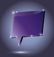 Abstract metal speech bubble purple on a dark vector