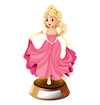 A princess with a pink gown vector