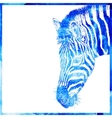 Watercolor animal background in a blue color head vector