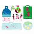 Christmas design elements with santa claus - set vector