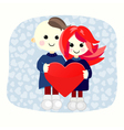 Valentine boy and girl with big heart vector