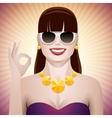 Pretty woman with sunglasses ok vector