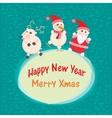 Christmas and new year greeting card santa claus vector