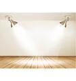 Showroom with wooden floor and two lights vector