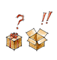 Set of doodle sketches of gifts vector