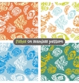 Fishes seamless pattern set - vector