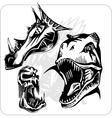 Set - aggressive dragon vector