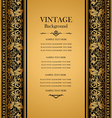 Antique vintage card victorian gold ornament vector