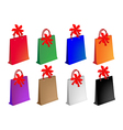 Colorful paper shopping bags with red bows vector