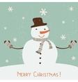 Christmas card with snowman vector