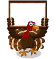Turkey cartoon with blank board vector