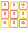 Set of 9 retro icons with wine glasses vector