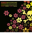 Abstract skull and flowers grunge background desig vector